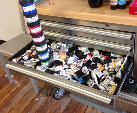 My acrylic drawer filled with now obsolete Daniel Smith Acrylics.